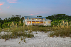 Distance shot of coastal modern home architecture
