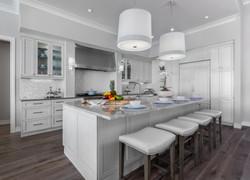Open kitchen in all grey tones