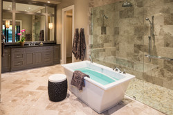Master bathroom with standalone soaking tub and shower