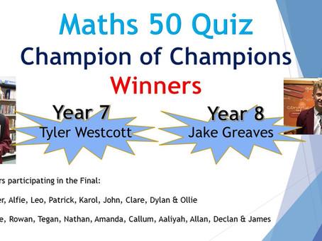 Maths 50 Quiz Winners
