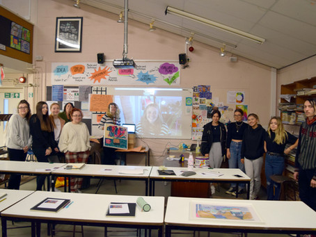 A Level Students Work With Local Artist