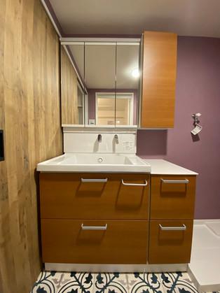 洗面の位置を変え、サイズアップしました。|洗面化粧台