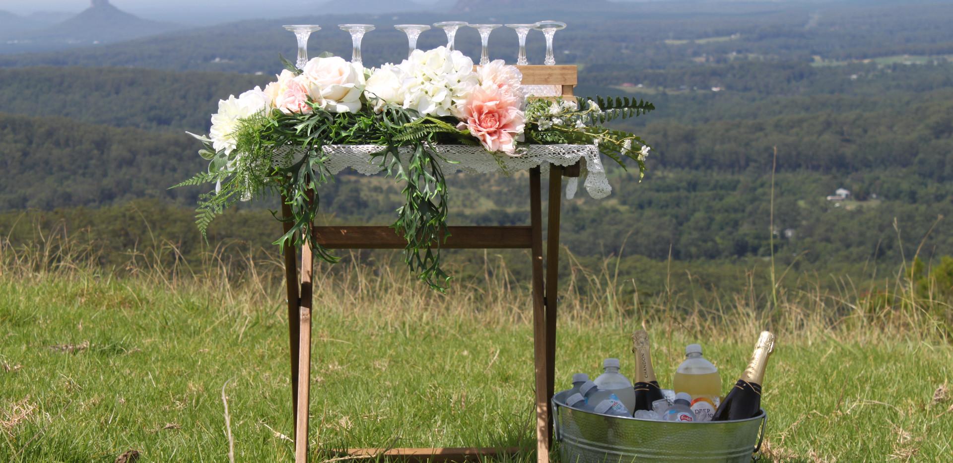 wedding drinks table