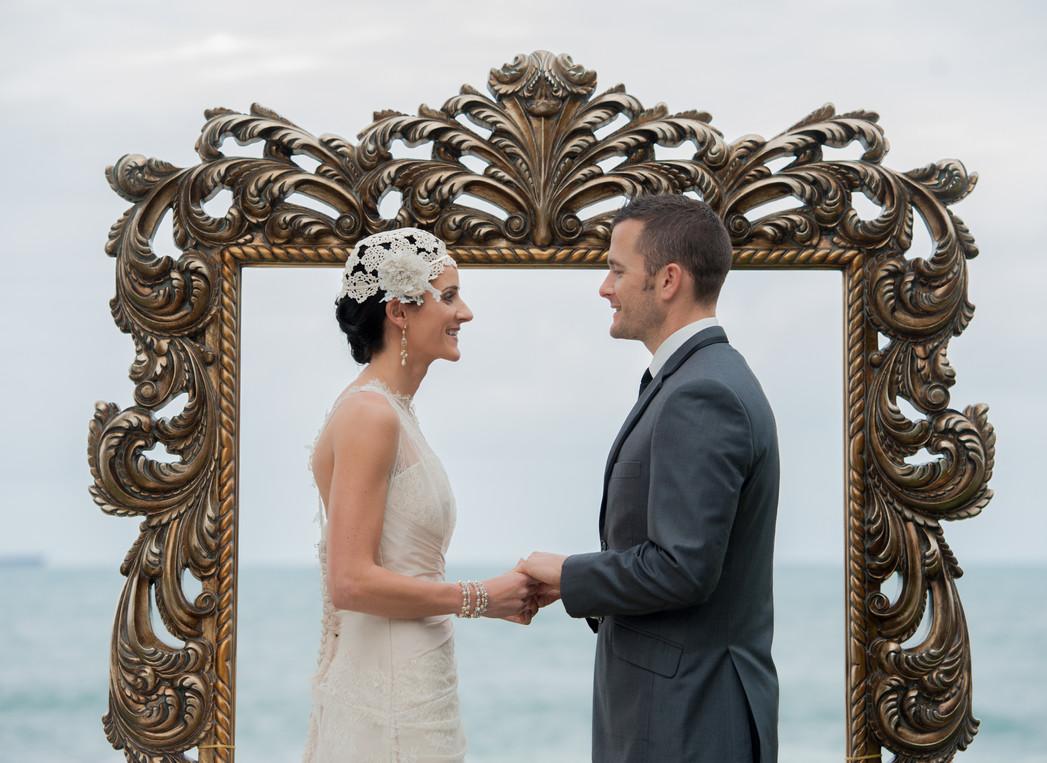 Gold ornate wedding frame