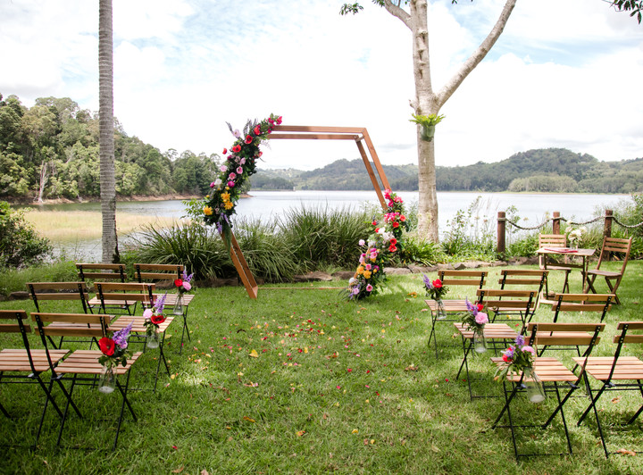 Wedding ceremony styling Secrets on the Lake Maleny