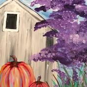 Farmhouse with Pumpkins