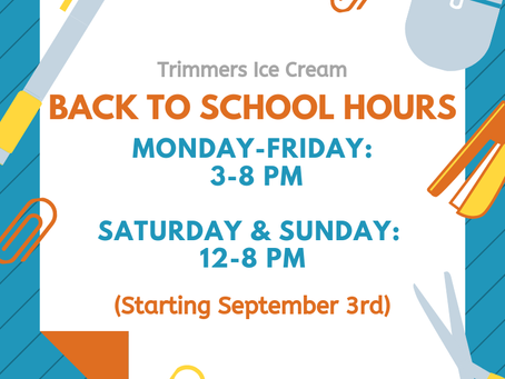 BACK TO SCHOOL HOURS!!