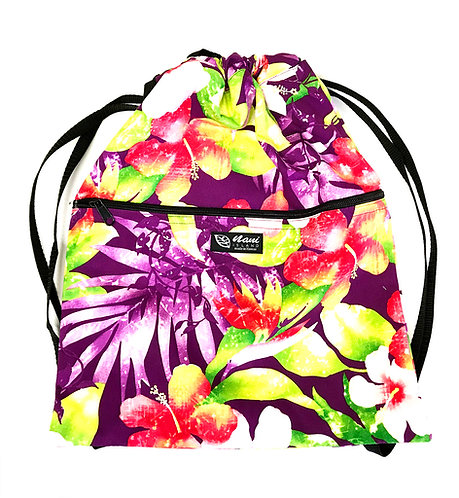 Watermark Floral Drawstring Back Pack