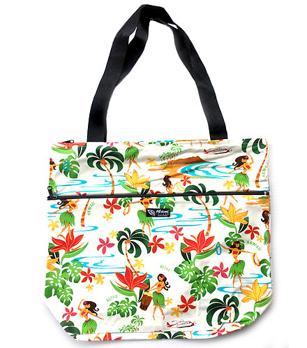Hawaiian Hula Girl Tote Bag w/Zipper XL