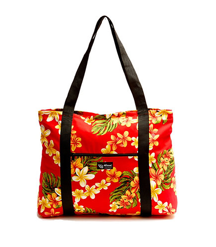 Cute Plumeria Shopping Bag w/Zipper