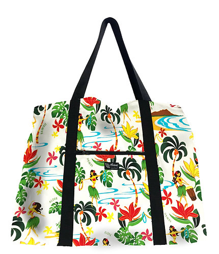 Hawaiian Hula Girl Shopping Bag w/Zipper