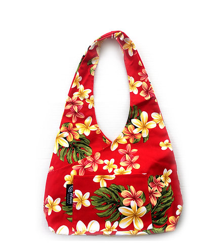 Cute Plumeria Cross Hobo Bag L