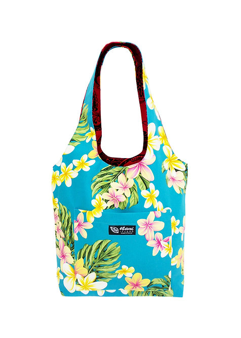 Cute Plumeria Reversible Hobo Bag S