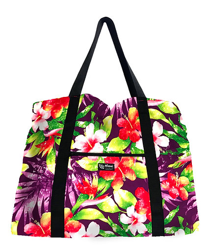 Watermark Floral Shopping Bag w/Zipper