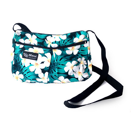 Modern Plumeria Two Pocket Hand Bag w/Long Strap