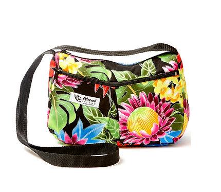 Hawaiian Garden Two Pocket Hand Bag w/Long Strap
