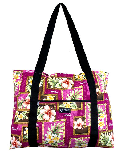 Box of Plumeria Shopping Bag w/Zipper