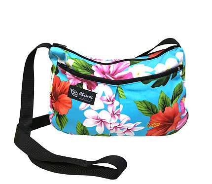 Luxury Hibiscus Two Pocket Hand Bag w/Long Strap