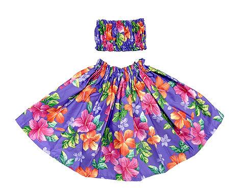 Blooming Hibiscus Keiki Pa'u Hula skirt Set