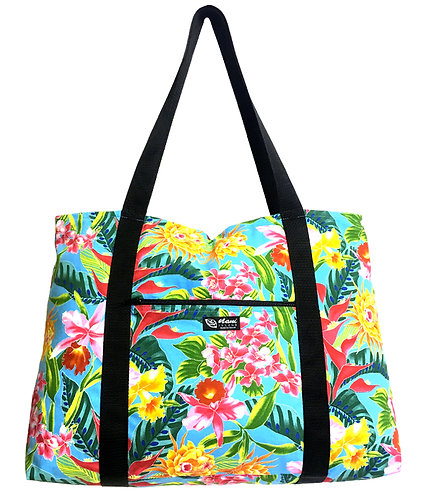 Tropical Blossom Shopping Bag w/Zipper