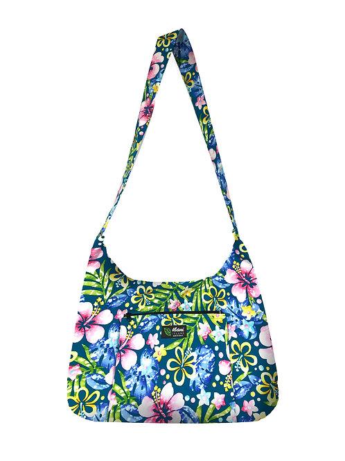 Groovy Hibiscus Sling Bag w/Zipper