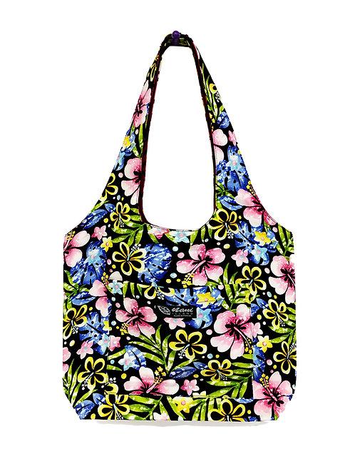 Groovy Hibiscus Reversible Hobo Bag S