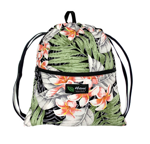 Tahiti Plumeria Drawstring Back Bag
