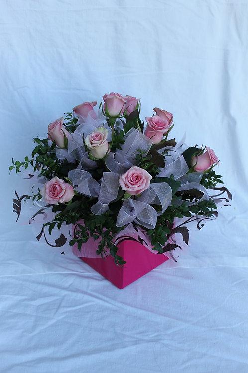 Pink rose and ribbon box