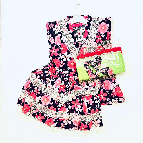 Girl's 2 piece yukata dress with an obi and a head piece (size 120)