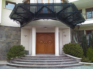 A canopy with decorative elements