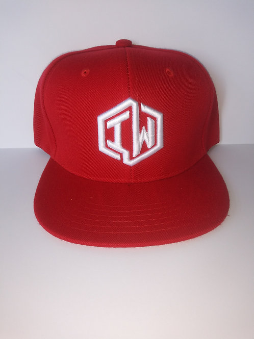 Red Snapback Hat With IW Logo