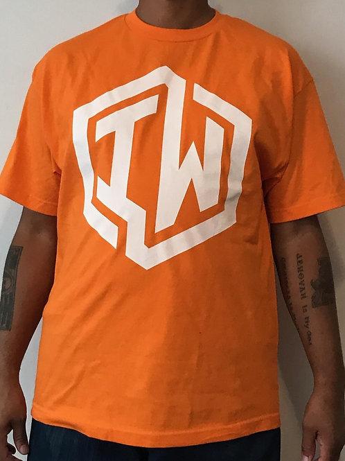 IWHIN Tee, Orange With White IW Logo