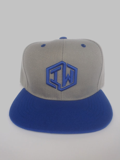 Grey and Blue Snapback Hat With IW Logo