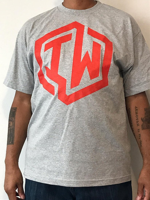 IWHIN Tee, Grey With Red IW Logo