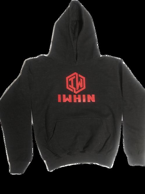IWHIN Dark Grey Kids Hoodie With Red Logo