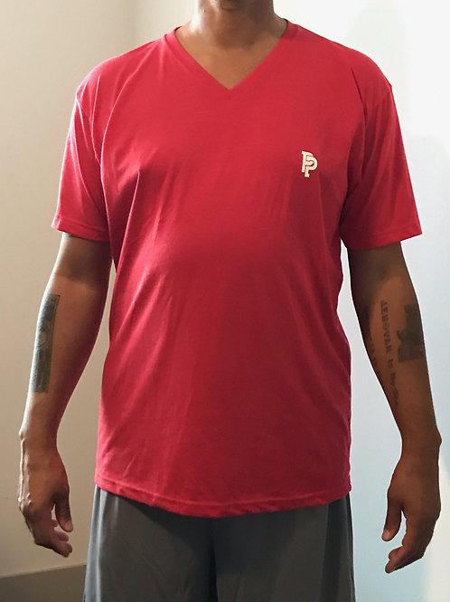 Men's PP Quicker Dry Red Short Sleeve V-Neck Tee