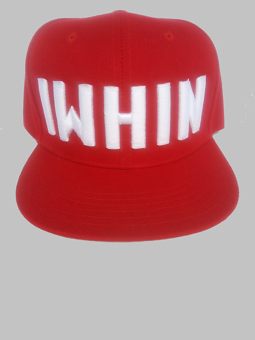 Red Snapback Hat With White IWHIN Text Logo