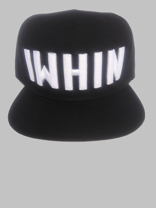 Black Snapback Hat With White IWHIN Text Logo