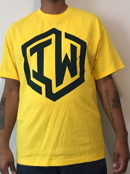 IWHIN Tee, Yellow With Green IW Logo