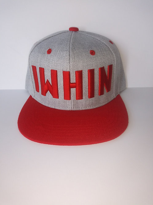 Grey And Red Snapback Hat With White IWHIN Text Logo