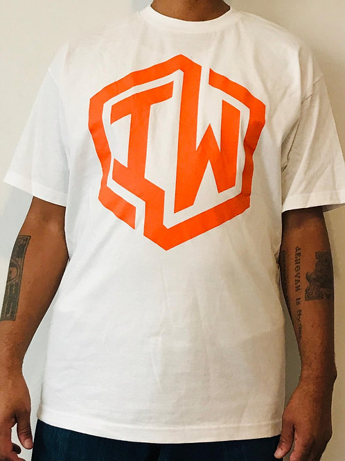 IWHIN Tee, White With Orange IW Logo