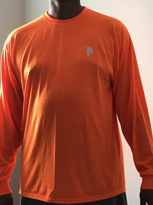 Men's PP Quicker Dry Safety Orange Long Sleeve Performance Tee