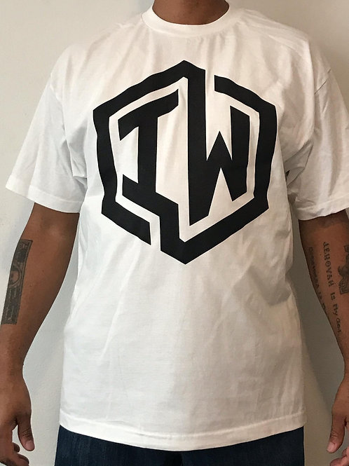 IWHIN Tee, White With Black IW Logo