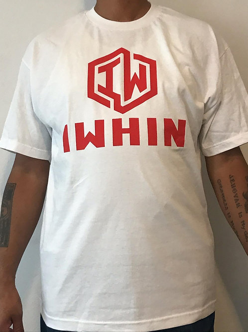 IWHIN White Tee With Red Logo