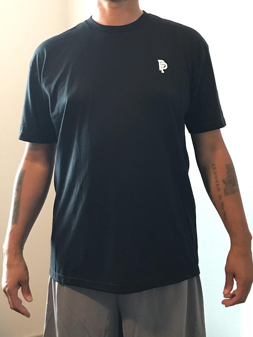 Men's PP Quicker Dry Black 100% Polyester Short Sleeve Tee