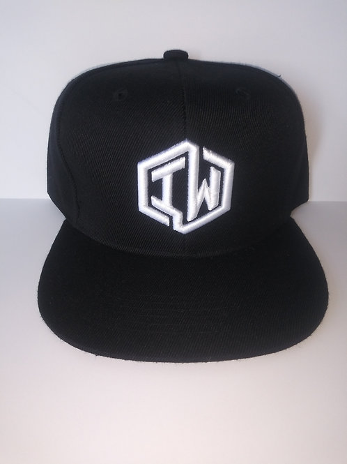 Black Snapback Hat With IW Logo