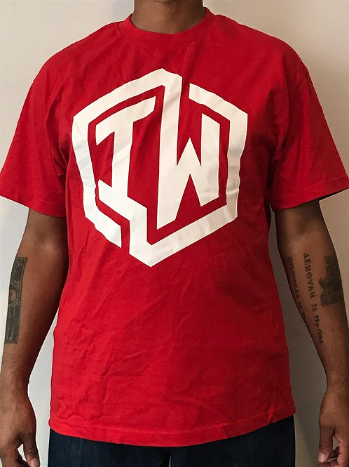 IWHIN Tee, Red With White IW Logo