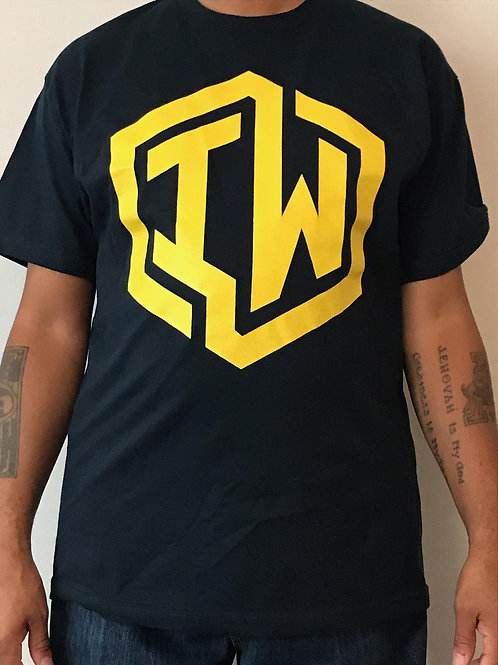 IWHIN Tee, Navy Blue With Yellow IW Logo