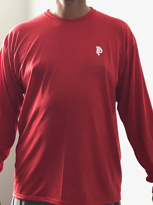 Men's PP Quicker Dry Red Long Sleeve Performance Tee
