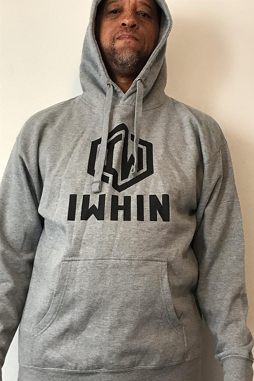 IWHIN Hoodie, Grey With Black Logo